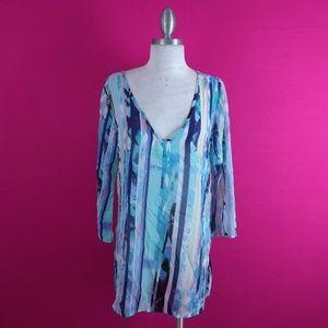 @ Como sz S Tunic Blue Sheer Striped Casual